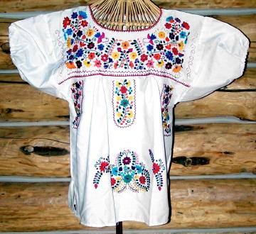 Authentic Mexican Hand Embroidered Peasant Blouse On White Sheeting 7049