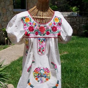 Mexican Peasant Blouse - Womens Tunic - Mexican Dress